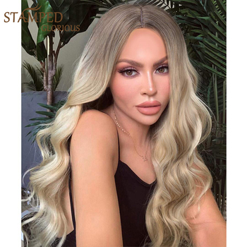 Stamped Glorious Long Wave Wig Ombre Black Blonde Wig Synthetic Wigs for Women Middle Part Heat Resistant Fiber Hair wignee hand made front ombre color long blonde synthetic wigs for black white women heat resistant middle part cosplay hair wig