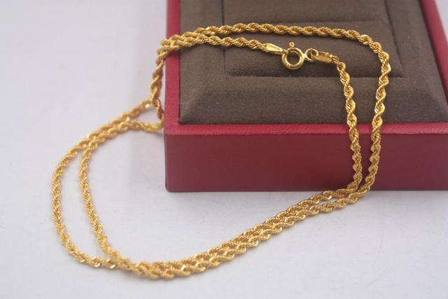 Pure 18k Yellow Gold Chain Unisex Luck 2mmW Rope Link Chain Necklace 18inches 2.61g 6