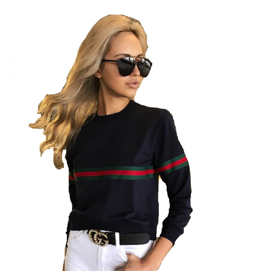 Women's Autumn And Winter New Round Neck Loose Thin Stitching Stripe Long-sleeved Round Neck T-shirt