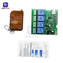 Diymore-Módulo de interruptor de relé WiFi con autobloqueo, 4 canales, con Control remoto, CA 85-220V/cc 5-32V 433Mhz para Arduino Smart Home