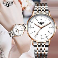 LIGE 2021 nowe złote zegarki damskie zegarki damskie kreatywne stalowe damskie bransoletki z zegarkiem damskie wodoodporne zegary Relogio Feminino tanie tanio SUNKTA QUARTZ Klamerka z zapięciem CN (pochodzenie) STAINLESS STEEL 3Bar Luxury ru 20mm ROUND Odporna na wstrząsy Odporne na wodę