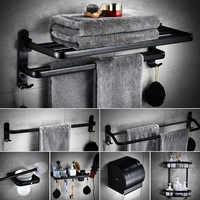 Hole-Perforated Black American-Style Folding Towel Rack Hardware Accessories Bathroom Storage Shelf