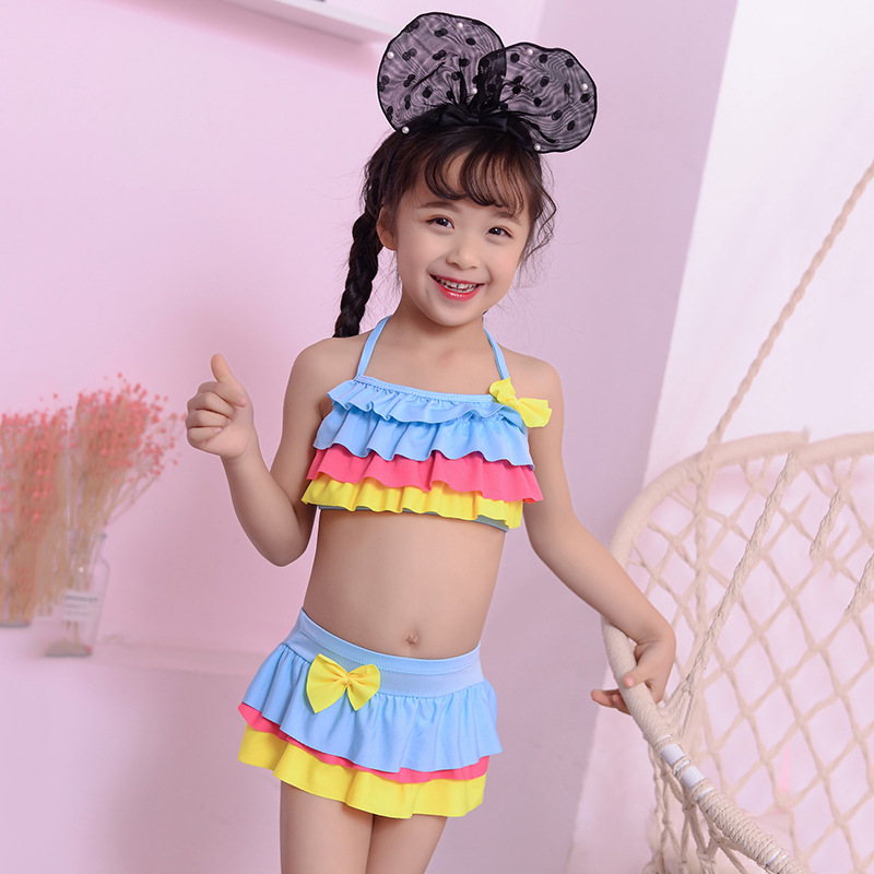 New Style Korean-style Small CHILDREN'S Classic Short Cake Dress Two-piece Swimsuits Fashion Camisole Halter Navel Baby Bathing