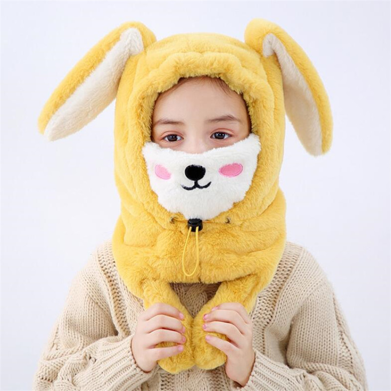 Long Ears Hat And Scarf Child Plush Hooded Scarf With Mask Kids Winter Warm Protection Ear Cap Circulal Scarves Girls Boy