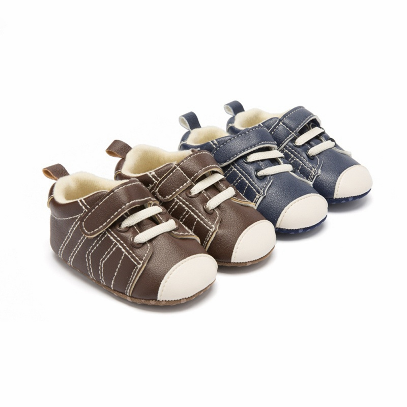 New Infant PU Leather Stitching Shoes Baby Classic Walking Shoes Soft Bottom Warm Baby Toddler First Walkers 2 Colors L