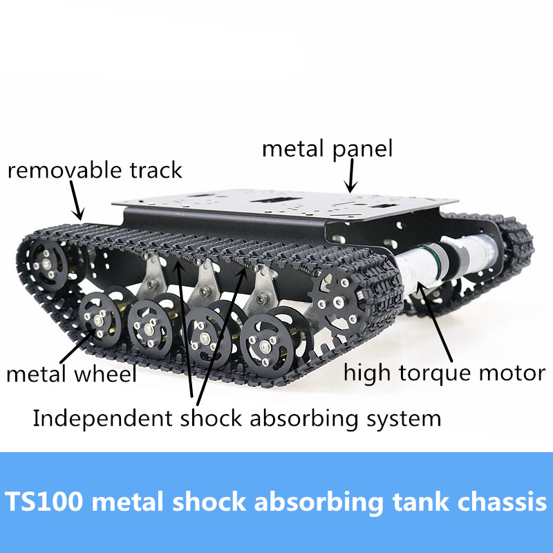 <font><b>TS100</b></font> Metal Smart Smart Shock Absorbing <font><b>Tank</b></font> Chassis Kit High Torque DC Motor Heavy Load Crawler Robot Platform DIY Education image