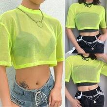 Summer Women Short Sleeve Mesh Sheer Crop Top Casual Loose T-shirt Club все цены