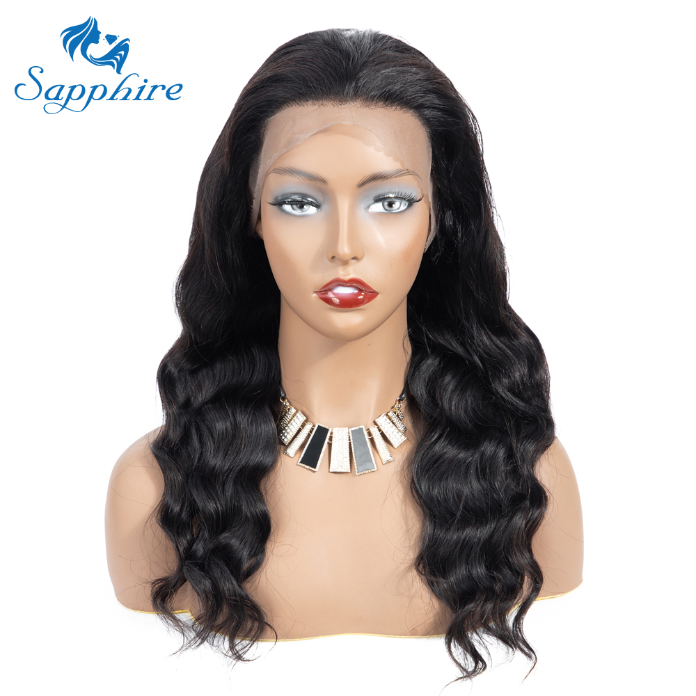 Sapphire Body Wave Human Hair Wigs With Baby Hair Bleached Knots Brazilian 13*4 Lace Frontal Wigs Pre-Plucked Human Hair Wigs