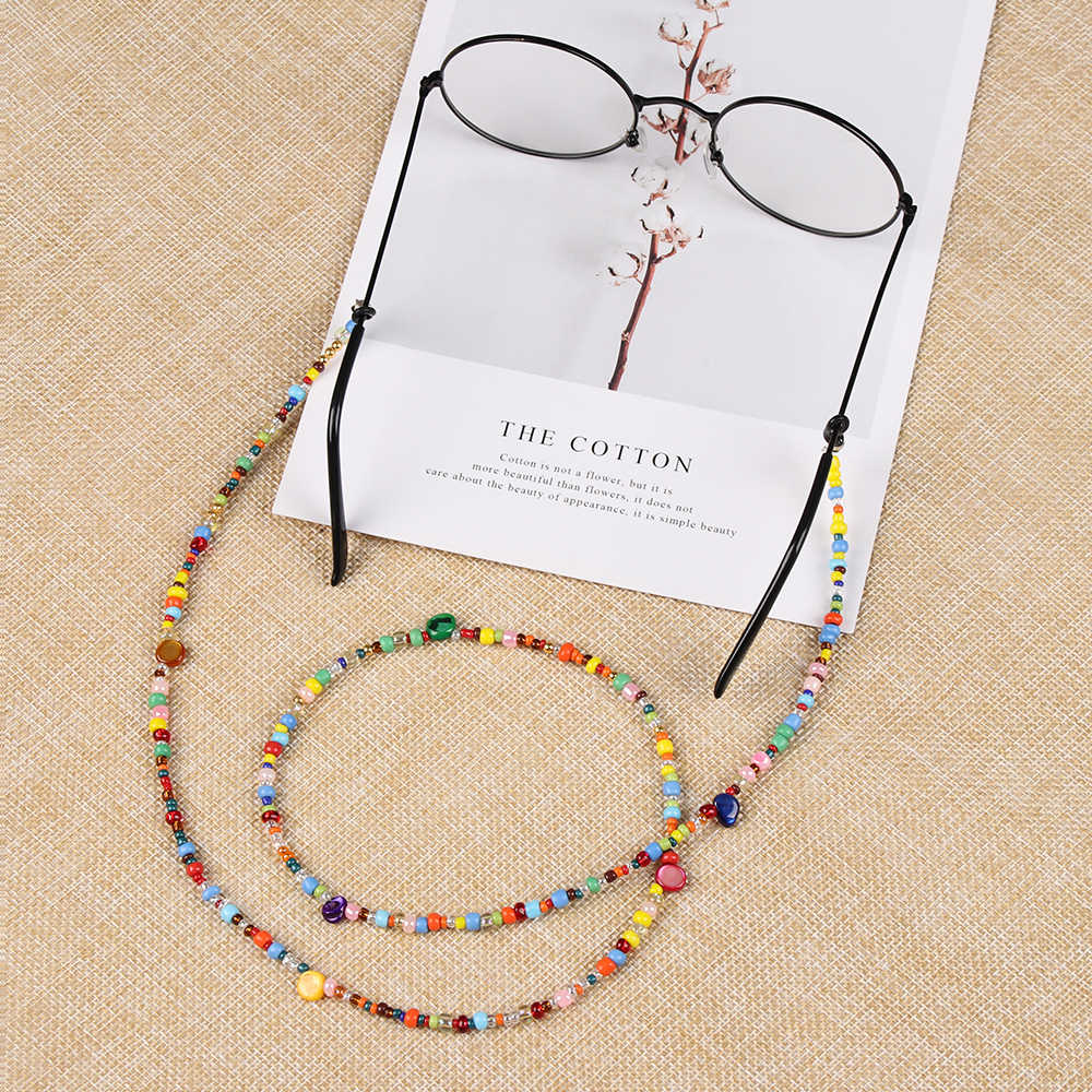 1PC Fashion Sweet Women Glasses Chain Colored Beaded Eyeglass Lanyard Anti Slip Sunglasses Strap Spectacles Cord Accessories