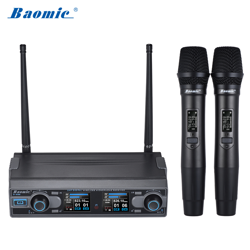 Baomic D-332 Professional Dual Channel UHF Digital Wireless Handheld Microphone System For Karaoke Party Presentation