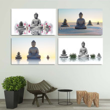 Abstract Printed Hotoke Buddhism Buddha Zen Stone and Lotus Painting Picture Cuadros Decor Buda Canvas Art For Bed Room Decal(China)