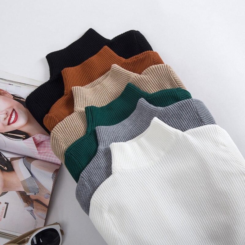 Женский вязаный свитер с высоким воротником, повседневный мягкий джемпер-поло с воротником-стойкой, эластичный пуловер, Осень-зима 2019
