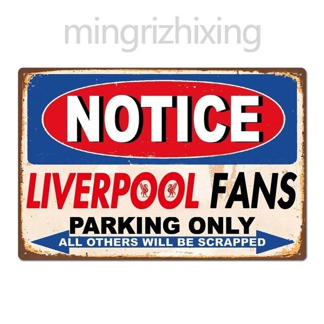 lustige liverpool fc football club fans parkplatz nur vintage retro zinn zeichen metall zeichen metall poster metall dekor wand aufkleber