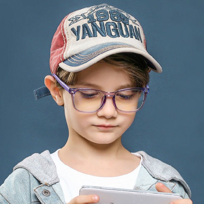 Children's TR Anti-Blu-ray Glasses Transparent Color Kids Blu-ray Flat Glasses Anti-UV Goggles