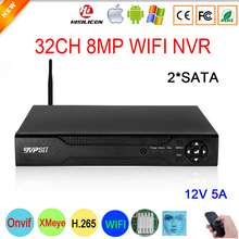 Grabadora de vídeo de vigilancia XMeye Hi3536C, 12V, 5A, 8MP, 4K, 32 canales, H.265 + Max, 16TB, SATA, Onvif, detección facial, WIFI, CCTV, DVR, NVR