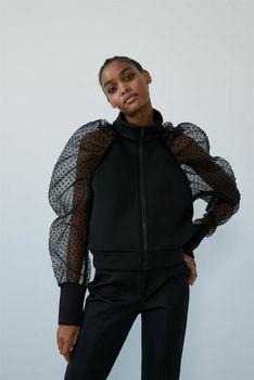 Women's Winter Mesh Puff Sleeve Patchwork Polka Dot Outwear Coat Autumn Sweatshirt Jumper Zipper Pullover Coats Tops Jackets