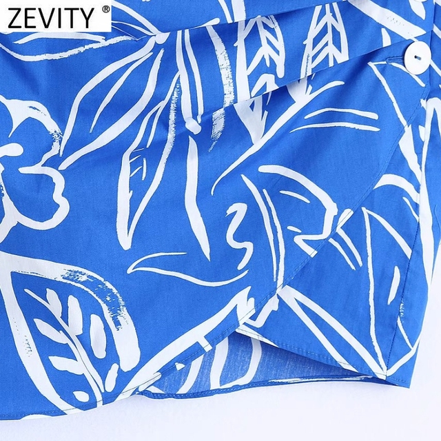 Zevity Women Vintage Pleats Design Floral Print Hem Irregular Skirt Faldas Mujer Female Side Zipper Buttons Mini Vestidos QUN791 4