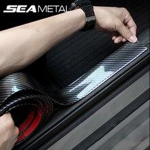 Protector de puerta de coche pegatinas de goma de fibra de carbono 5D, a prueba de arañazos, protección de umbral de puerta automática, productos de moldura, estilo de coche