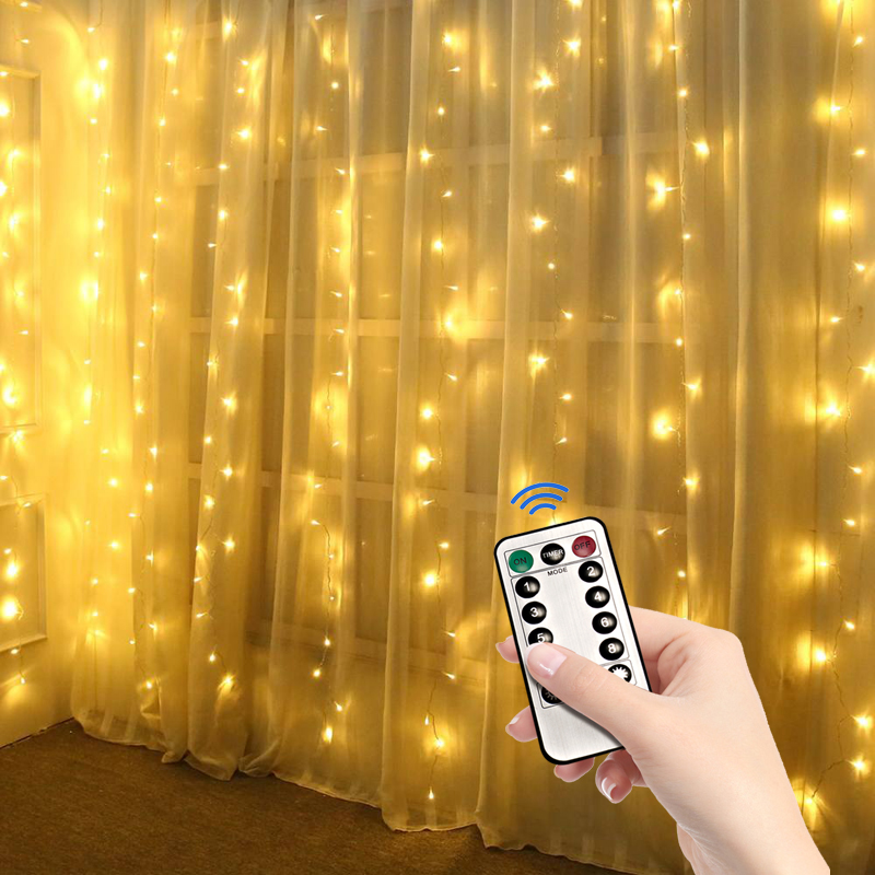 3X1 3X2 3X3M Christmas Garlands LED Wedding Fairy USB String Light Christmas Fairy Light Garden Party Curtain Decor