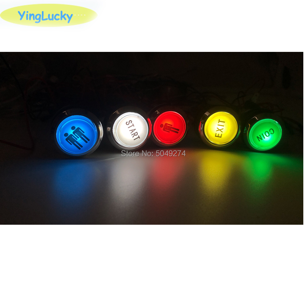 Arcade LED Button 1 P And 2 P Coin Button 33mm Glossy Glass 5V LED Push Buttons With 2Pin Cable Arcade Cabnet Zero Delay Button