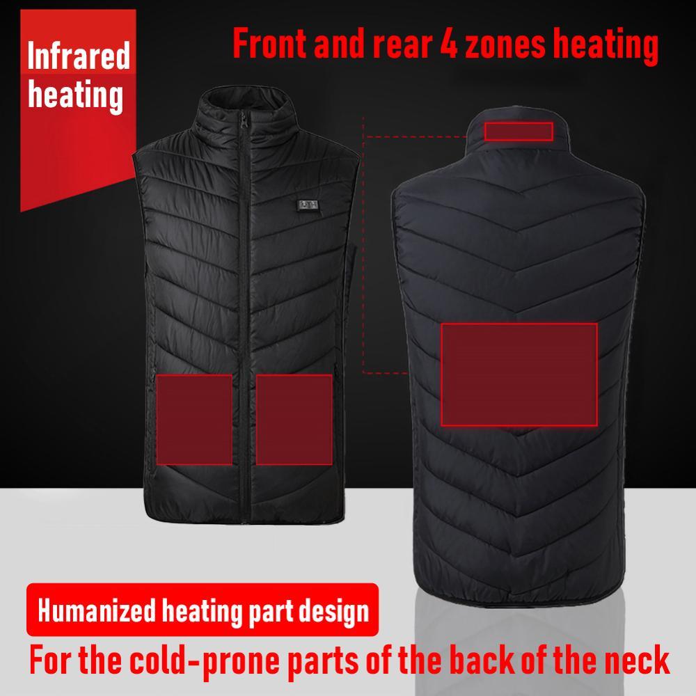 4 зоны нагревательный жилет куртка usb зимний двойной контроль