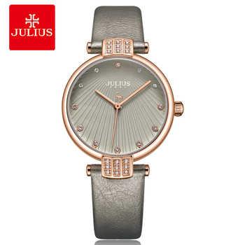 Julius Frauen Uhren 2018 Luxus Marke Quarz Leder Minimalistischen Grau Strap Armbanduhren Wasserdichte Hohe Qualität Relogio JA-