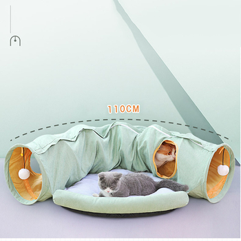 Cozy Foldable Kitten Play Tunnel & Lounger  15