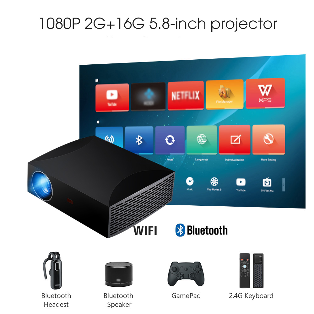ViviBright Full HD 1920x1080P MINI projecteur F30 F30UP projecteur Android (2G + 16G) 5G WIFI pour Home cinéma, Support 4K Beamer
