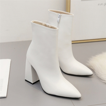 2020 Fashion Luxury Women Chunky 10.5cm High Heels Fetish Sock Boots Soft Leather Block White Heels Ankle Boots Scarpins Shoes