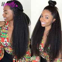 Upretty Yaki-Peluca de cabello humano prearrancada, peluca Frontal de encaje 360, densidad 150, 13x6, Remy, pelucas de cabello humano