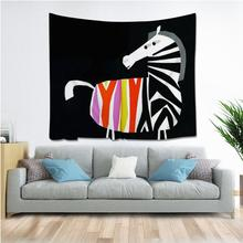 Cartoon Animal Zebra Tapestry Hippie Mandala Wall Hanging Bedroom Polyester Travel Camping Psychedelic Tablecloth Tapestries natural animal deer flamingo tapestry hippie mandala wall hanging bedroom polyester travel camping psychedelic tablecloth