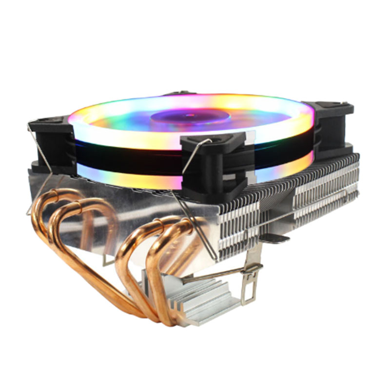 LANSHUO 4 Copper Tube Blow-Down CPU Cooler CPU Fan Suitable for 1366/2011/1155 and Other Multi-Platform (Three-Line Multicolored