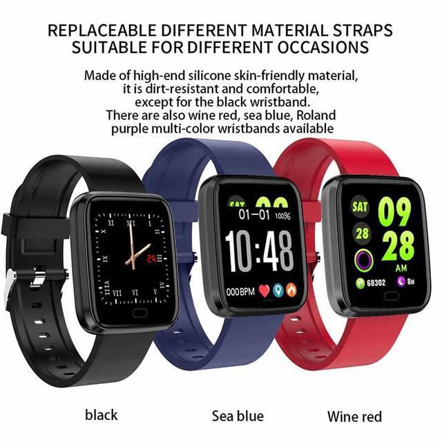 New Bluetooth Smart Watch Fitness Tracker with Heart Rate Blood Pressure Detector Waterproof Sleep Bracelet, Blue/Red/Black 3