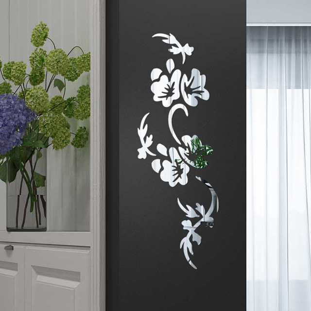 3D Flowers Design Acrylic Mirror Wall Sticker Bedroom Living Room Porch Decorative Wallpaper Decal Home Office Bar Decoration 2
