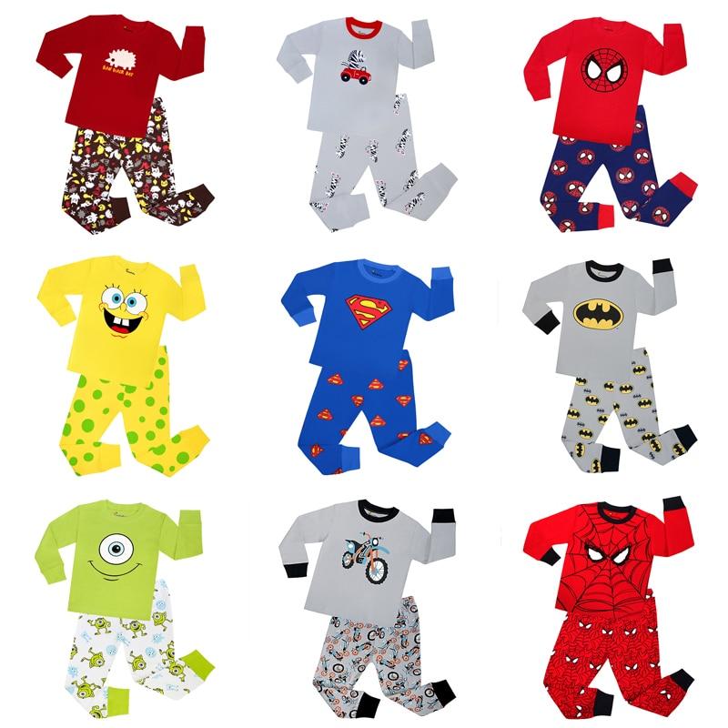Bebê 100% algodão conjuntos de pijama bonito carro animal pijamas crianças pijamas vermelho azul manga longa tshirt calças ternos menino roupas da menina