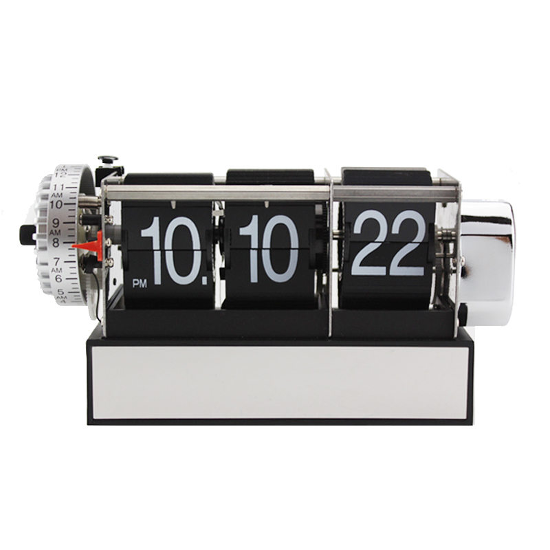 1 Piece Black White Automatic Flip Desk Alarm Clock For Art Home and Office Decorative Mini Table Clock