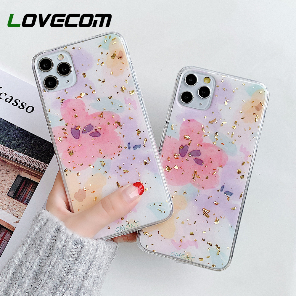 LOVECOM Cute Watercolor Flower Phone Case For IPhone 11 Pro Max XR XS Max 7 8 6 6S Plus X Soft Epoxy Oil Painting Back Cover