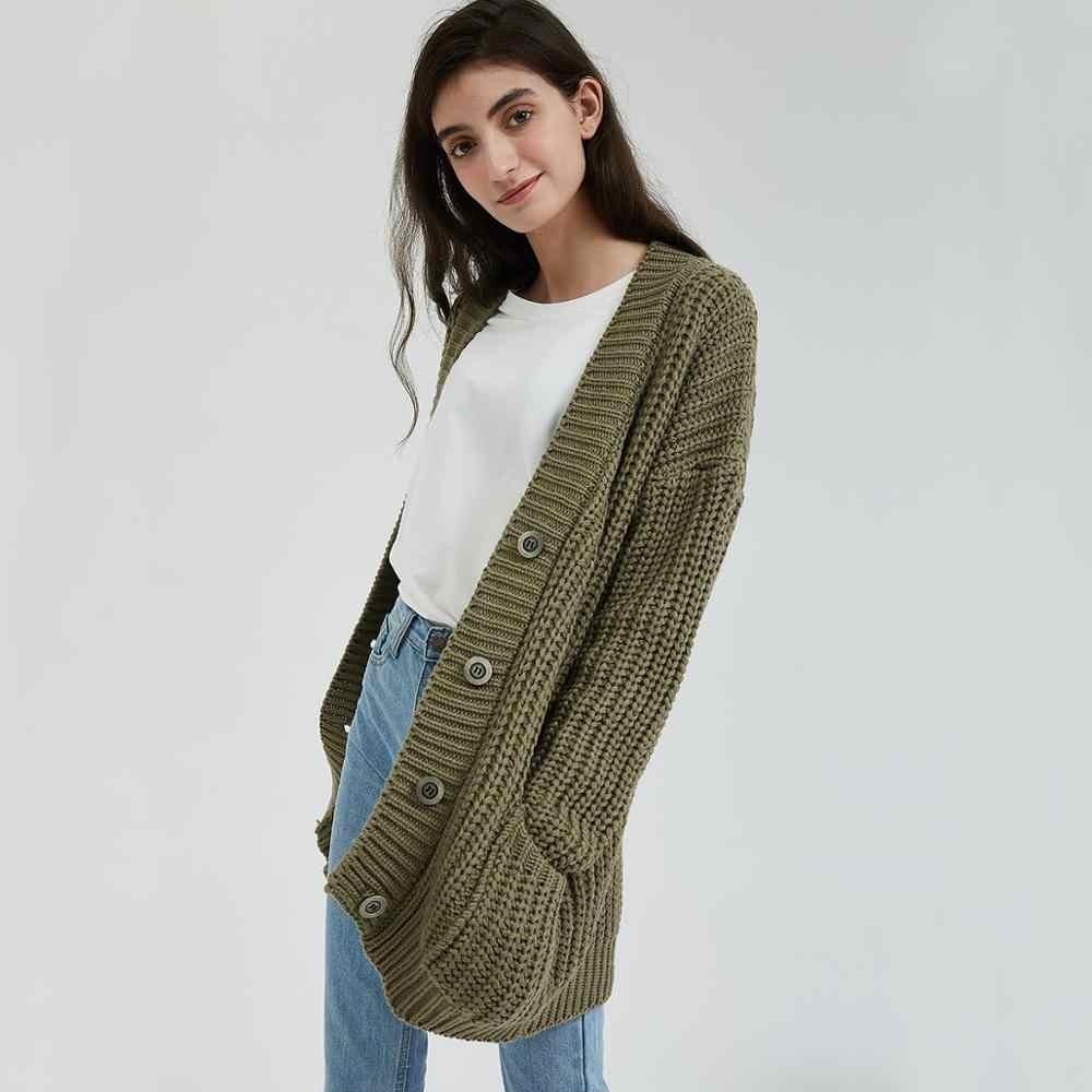 Wixra вязаный массивный женский свитер кардиган Карманы Твердые толстые Топы Одежда стильный свитер для женщин 2019 осень зима