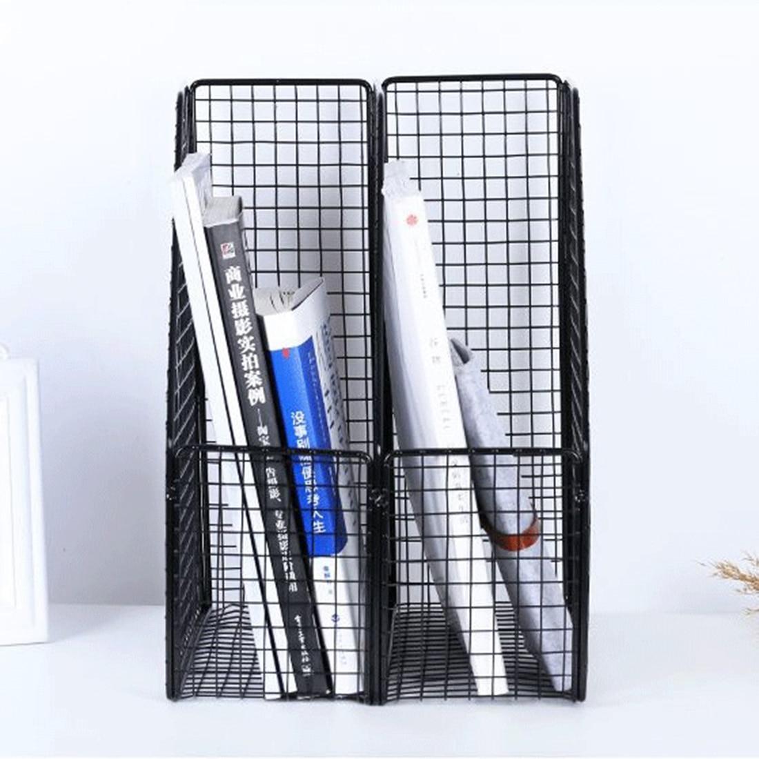 Fer Art fichier Magazine stockage titulaire bureau étude organiseur de bureau étagère pour livres Documents-noir