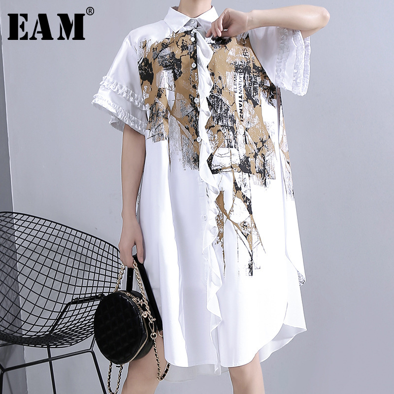 [EAM] Women Pattern Printed Irregular Big Size Shirt Dress New Lapel Half Sleeve Loose Fit Fashion Tide Spring Summer 2020 1T941