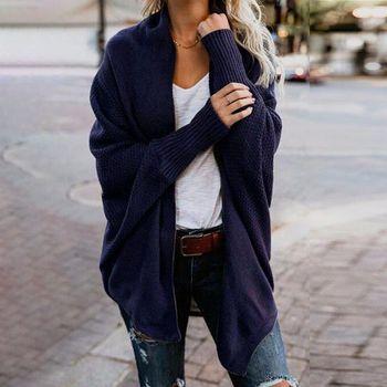 Autumn Winter Women Cardigan Sweaters Fashion Long Bat Sleeve Twist Knitted Sweaters Female Loose Knit Sweater Cardigan Coat