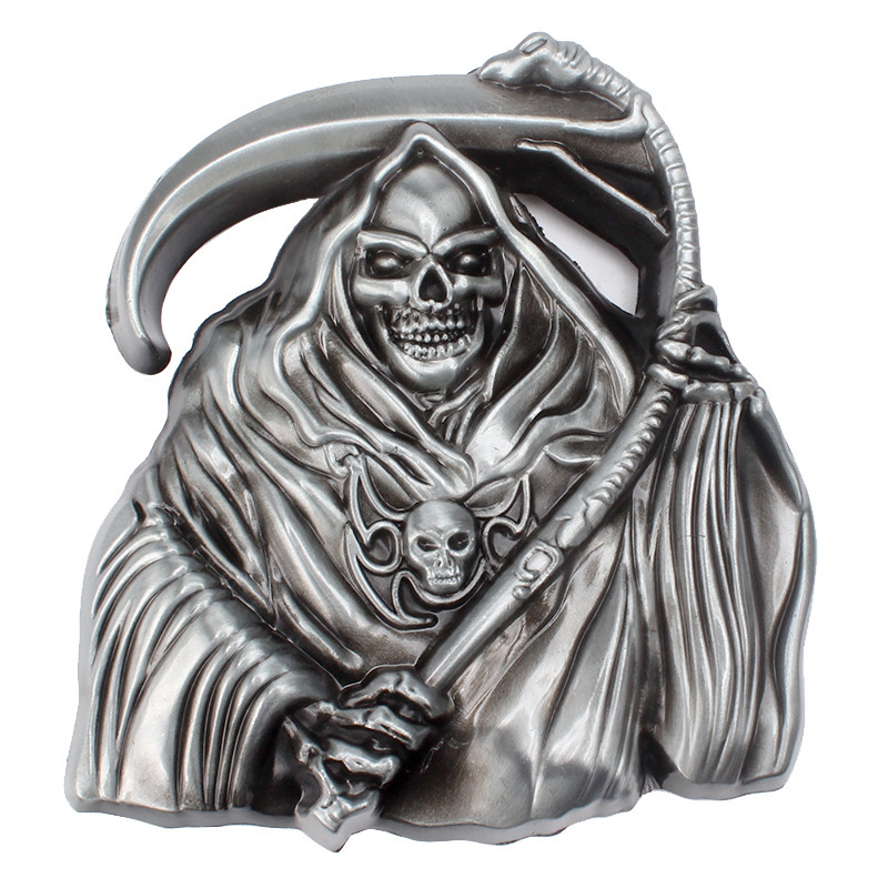 Skull Skeleton Belt Buckle Belt DIY Accessories Grim Reaper Buckle Smooth Belt Buckle Punk Rock Style K37