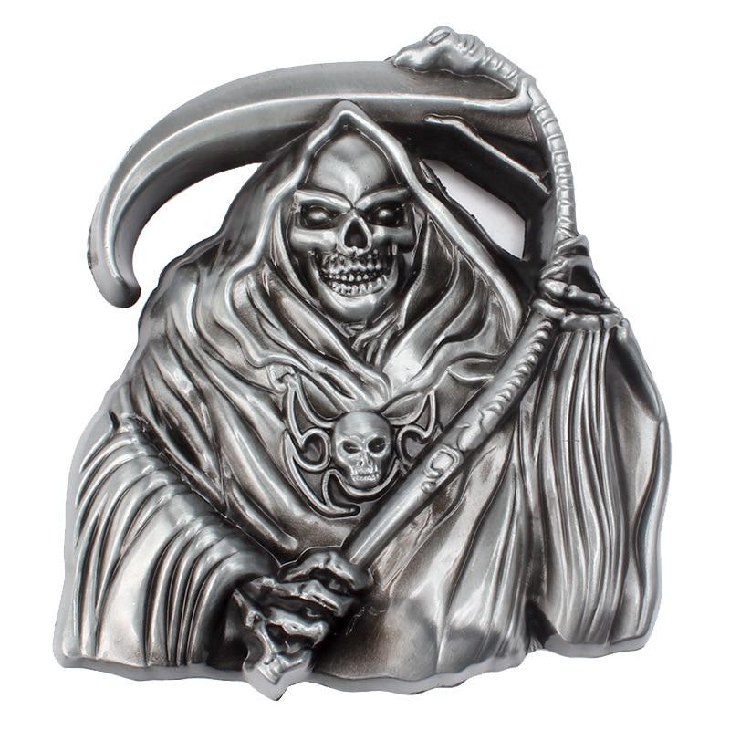 Skull Skeleton Belt Buckle Belt DIY Accessories Grim Reaper Buckle Smooth Belt Buckle Punk Rock Style K37