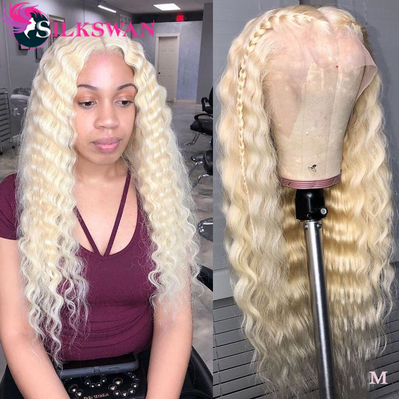 Silkswan Hair 28 30 32 34 Inch Deep Wave 613 Blonde Wig 13*4 Lace Front Wigs Swiss Lace Preplucked 150% Brazilian Remy Hair