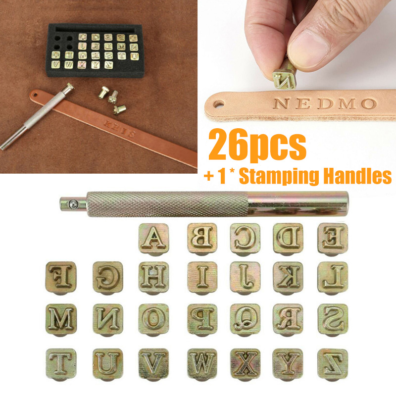26pcs Alphabet Letter Leather Stamper Set Steel Punch Metal Leather Punching Tools For DIY Leather Craft Tools