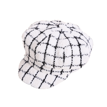Autumn Winter Baby Baseball Cap Fashion Cotton Octagonal Unisex Black And White Hat Plaid For Kid Girl Boy Hats цена 2017