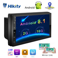 Hikity Android 8.1 Car Multimedia Player GPS Navigation 2 Din HD Autoradio WiFi USB 7 MirrorLink Car Stereo Backup Receiver