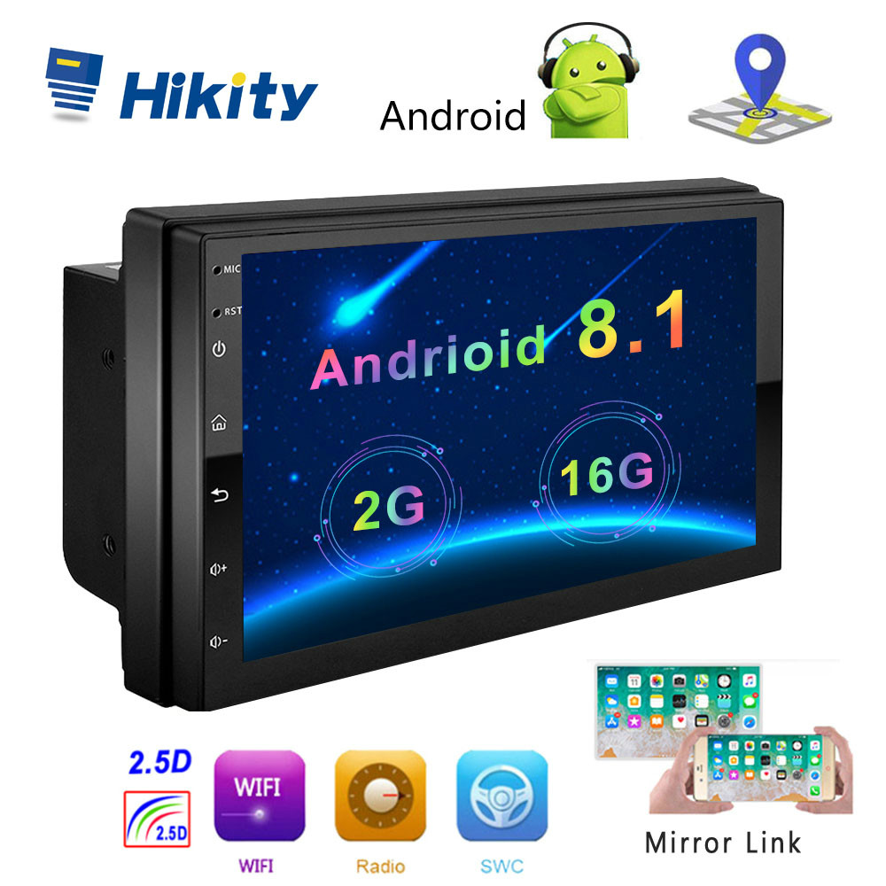 Hikity Android 8.1 Car Multimedia Player GPS Navigation 2 Din HD Autoradio WiFi USB 7 MirrorLink Car Stereo Backup Receiver image