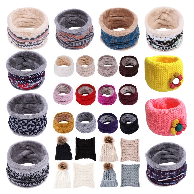 Wholesale Children Boys Girls Baby Wool Knitted Ring Scarf + Hat Cotton O Ring Neck Scarf Scarves Shawl Warm Winter Neckerchief