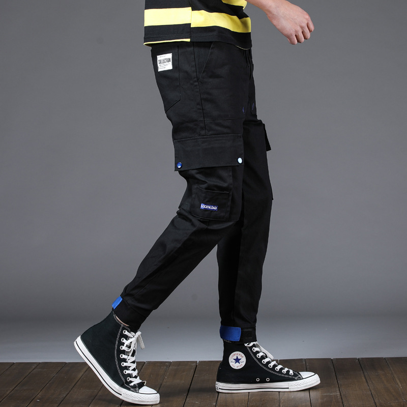 Pants Men's Korean-style Trend Spring Popular Brand Versatile National Trends Loose-Fit Capri Sports Beam Leg Casual Bib Overall